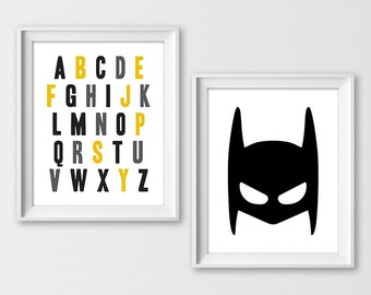 Super Hero Alphabet, Super Hero Digital prints, Alphabet Kids room decor, ABC Art Print, Batman Nursery, Boys Room, Instant download