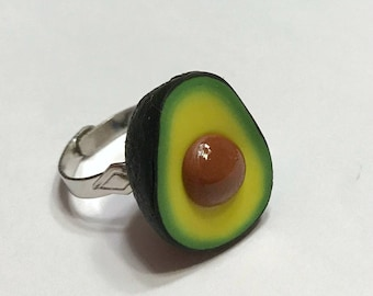 Avocado Adjustable Ring, Polymer Clay Food Jewelry