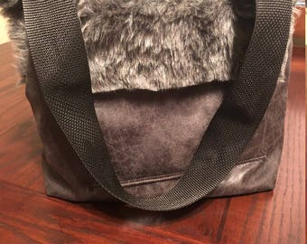 Custom handmade Faux Vintage leather Bomber Fur Dog Purse Bag Carrier LUXE Shag Luxury Tote Removable semi solid bottom Puppy Yorkie 0-7lbs