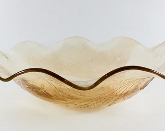 Jeannette Glass Louisa Floragold Large 11 Inch Ruffled Bowl