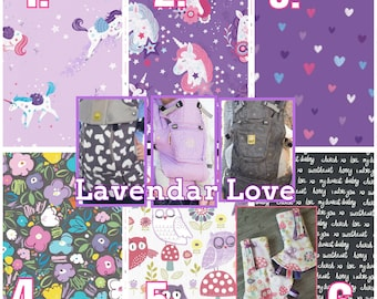 Ergo360 or Lillebaby 3-PC Sets. Headrest Bib/Straight Pads.  Curved Pads upgrade and personalize available.  LAVENDER LOVE