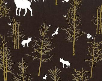 Brambleberry Ridge Timber Valley Bark METALLIC by Michael Miller- Brown Deer - Quilting Cotton Fabric - choose your cut