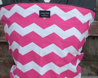 Baby Sling-ORGANIC COTTON Baby Wrap Sling Carrier-Pink Chevron on Gray-One Size Fits All-Newborn to Toddler-DvD Included
