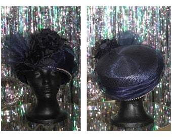 90's  Dark Blue Pill Box Hat with Rhinestone Lining *Excellent Condition