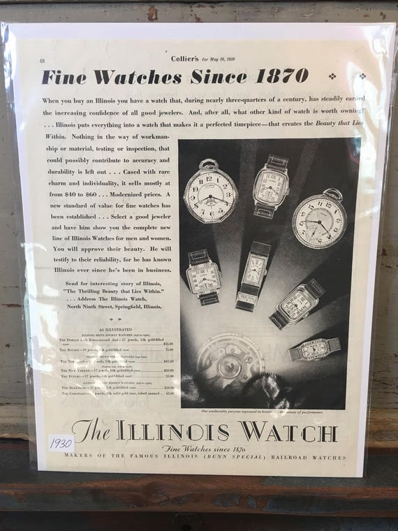 1930s Art Deco Illinois Watch Co Original Advertising - Vintage Ad Colliers Magazine