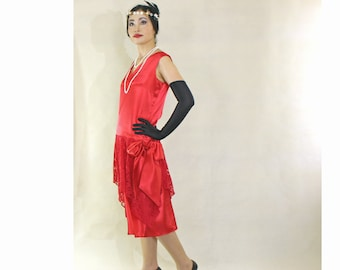 Lipstick red Great Gatsby dress with satin and lace, red flapper dress, Roaring 20s party dress, red Charleston dress, satin Gatsby dress