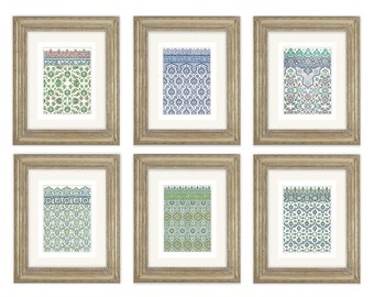 6 Set of Moorish Moroccan Antique Tile Designs Archival Quality Prints