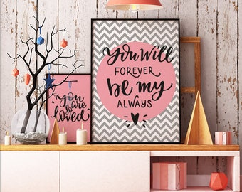 You will forever be my always - INSTANT DOWNLOAD - Art, Yellow, Printable Art, Quote, Illustration Artwork, Digital Art