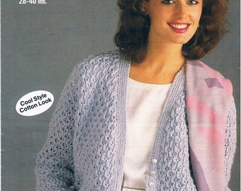 Vintage Knitting Pattern PDF: 1980s Woman's Cabled Cardigan Instant Download Digital Copy