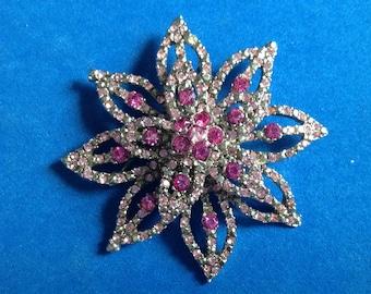 "Vintage! 2 3/4"" large light pink, dark pink & clear rhinestone flower pin"