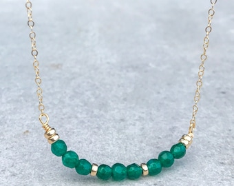Emerald agate necklace, Gemstone necklace, Beaded necklace, May birthstone necklace, 14k Gold fill necklace, Gift for her, Dainty necklace