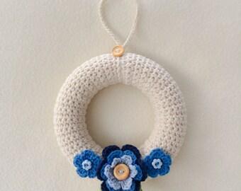 Fleur couronne ronde - fait main au Crochet décoration - décoration d'intérieur - Shabby Chic Couronne - cadeau d'anniversaire - fête des mères, READYMADE