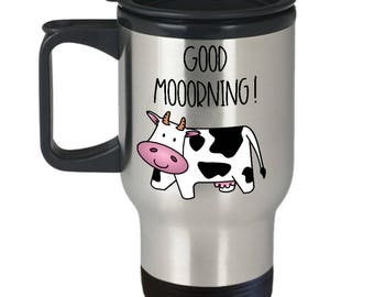 Cow Travel Mug - Cow Mug - Cow Coffee Mug - Good Morning Mug - Funny Cow Mug - Cow Gift Idea - Cow Gifts For Her - Cow Tumbler