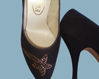 Vintage 50s Beaded High Heel Shoes Chocolate Suede 5 B