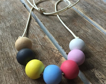 pastels and grey hand painted wooden bead necklace