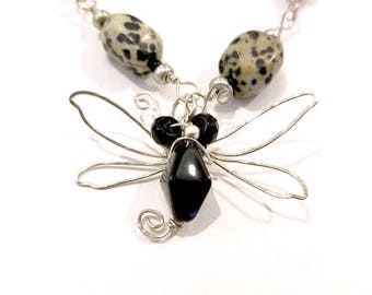 Fairytale Sterling Silver Wire Dragonfly Necklace in Black with Dalmatian Jasper Fantasy Adjustable Length #1333