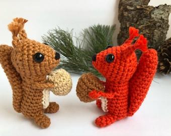 Squirrel Soft Toy Squirrel Plushie Stuffed Squirrel Toy Squirrel with a Nut Woodland Themed Nursery Toy Squirrel Gift Idea Eco Friendly Toy