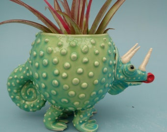 Leaping Lizards a Large Chameleon Planter, Lizard Love, Succulents, Air Plants, Joyful Gift