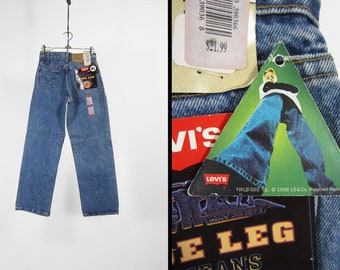 Vintage 90s Levi's Wide Leg Jeans NOS Orange Tab Denim 565 Deadstock - Size 14 Slim