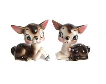 Salt and Pepper Shakers Vintage Deer, Kitschy Collectibles, Kawaii Deer Figurines