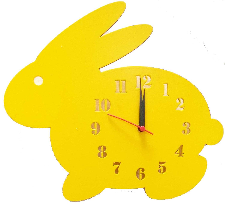 Rabbit Kids Wall Clock Gender Neutral Kids Decor Wall Clock
