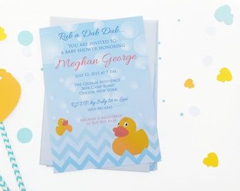 Baby Shower Invitations - Rubber Ducky Baby Shower Invitations - Rubber Ducky Shower Invites - Rubber Duck Invitations - Sip and See Invite