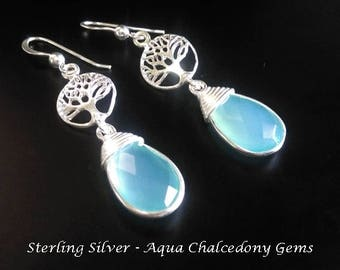 Tree of Life Earrings: Fabulous Aqua Chalcedony Gems in 925 Sterling Silver Earrings | Celtic Earrings, Gifts for Women, Silver Earrings 173