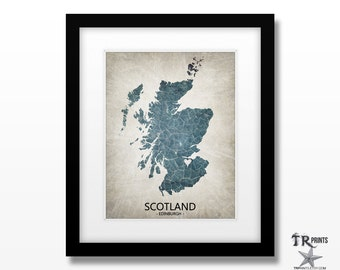 Scotland Map Art Print - Home Is Where The Heart Is Love Map - Original Custom Map Art Print Available in Multiple Size and Color Options