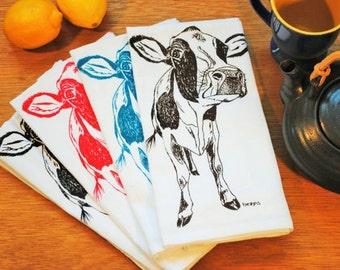 Cloth Napkins - Screen Printed Cotton Napkins Set of 4 - Table Napkins with a Cow - Washable Reusable Animal Napkins