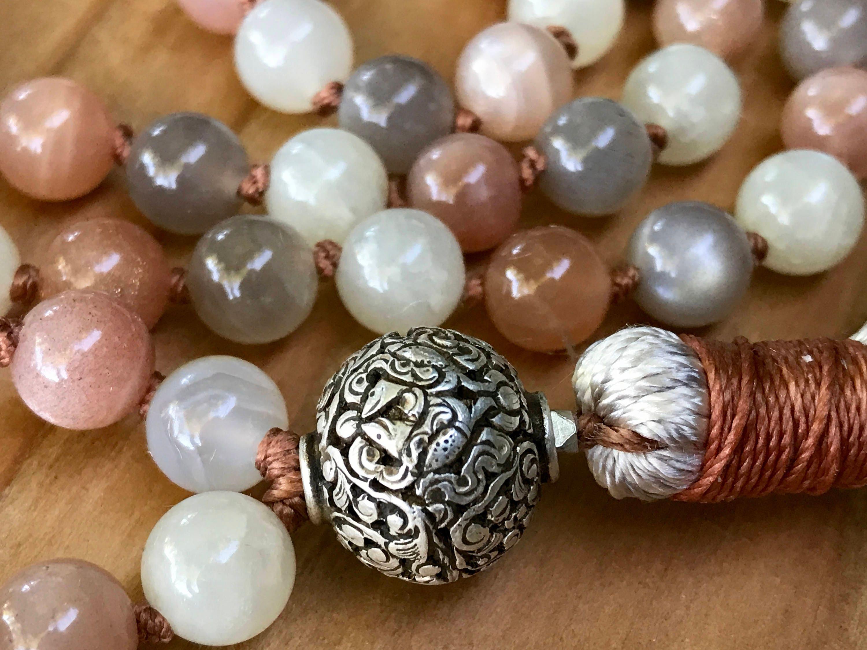 Fertility Mala Beads Moonstone Fish Symbols Eight Auspicious
