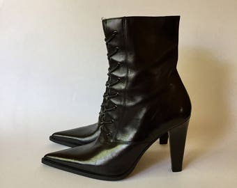 Italian leather pointy toe boots, witch boots, Victorian boots, black boots, high heel boots, stiletto boots, black leather boots,