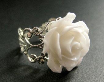 Pale purple rose ring purple flower ring filigree ring white rose ring white flower ring filigree ring adjustable ring flower jewelry mightylinksfo