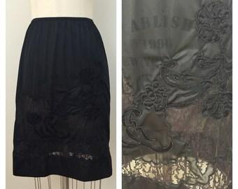50s Black Nylon Lace Embroidered Half Slip, Size XS to Small