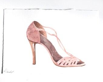 Shoe wall art/ Fashion illustration/ Fashion art/ Watercolor painting/ Dressing room art/ Gift for shoe lover/ Pale Pink Sandal illustration