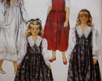 Girls Dress Sewing Pattern, Girls Jumper, McCalls 6042  UNCUT  Size 6, 7