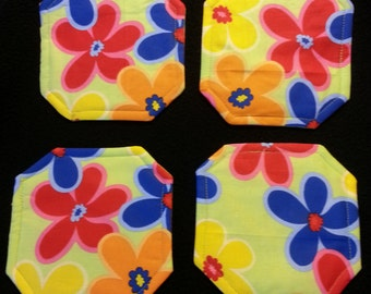 Coasters, cloth,  Flowers, lime green, large colorful, square mitered corners