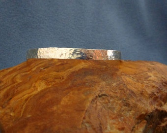 Solid Flat Sterling Silver Bangle Bracelet with Random Hammered Texture