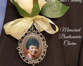 SALE! Memorial Boutonniere Charm - Single-sided - Oval - Personalized with Photo - Antique Silver or Bronze- Cyber Monday