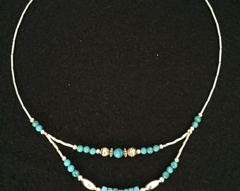 Silver Beaded Necklace, Southwestern Necklace, Tribal Necklace, Turquoise Necklace, Southwestern Style