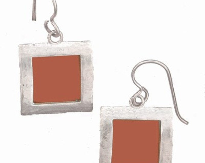recycled aluminum\/silver Orange square earrings