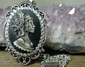 Necklace. Sugar Skull Swarovski crystal pendant. Unique gift for Bridesmaid Dia de los Muertos Wedding. Gypsy Feather Lady.