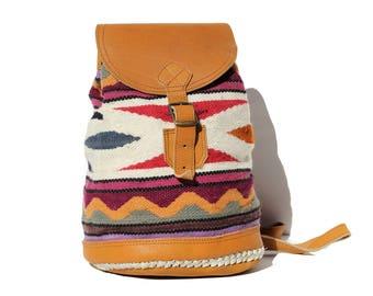 Vintage wool geometric pattern Leather Backpack