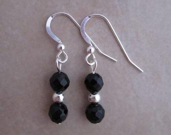 black onyx earrings sterling silver dangle