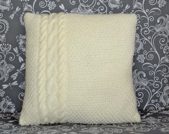 Knitted pillow cover, cable knit, pillow case. Handmade. Grey. Brown. Ecru/Creme.