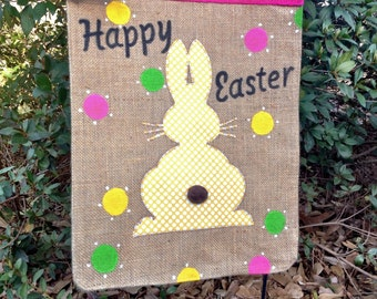 Easter Bunny Garden Flag ,Personalized Burlap Spring Garden Flag,Easter Flags, Burlap Garden Flag, Easter Decoration, Easter Rabbit Flag