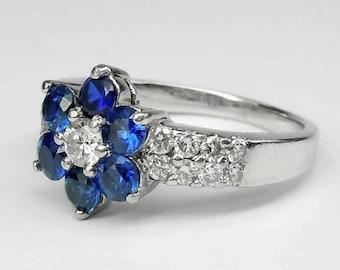 18kt White Gold Intense Royal Velvet Blue Sapphire Diamond Statement Ring