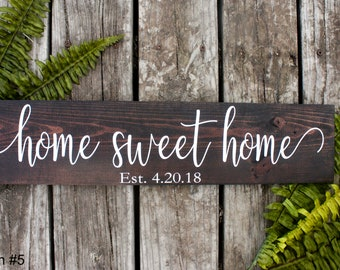 Home Sweet Home Sign. Housewarming Gift. Established Sign. Anniversary Gift. Rustic Home Decor. Farmhouse Decor. Rustic Farmhouse Sign.