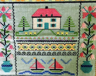 Vintage sampler embroidery