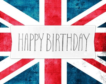 Union Jack's Happy Birthday greeting card handmade 15cm x 10.5 cm