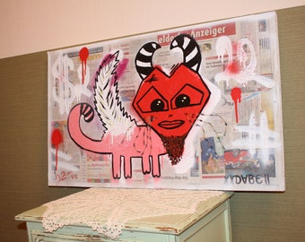 Abstract Artwork by Dann Bekk #Devil - Cat# 81 cm x 48 cm